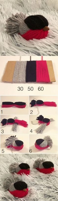 TUT------------------- craft with yarn Bird Crafts, Fun Crafts, Diy And Crafts, Crafts For Kids, Creative Crafts, Crochet Projects, Sewing Projects, Craft Projects, Knitting Patterns