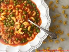 Peas and Macaroni - Rossella's Cooking with Nonna Pea Recipes, Italian Recipes, Cooking Recipes, Healthy Recipes, Kraft Recipes, Italian Main Dishes, Italian Soup, Pasta Plus, Pasta Dinners