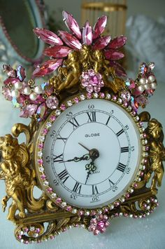 Sweet Cherubs & Pink Shimmers With Pearls Globe Germany Jeweled Clock By Debbie-Baby, Brush, Comb, Vintage, Weiss, Pink, Clock, Antique, Jewels...