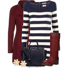 Striped Sweater Dress, created by mhuffman1282 on Polyvore