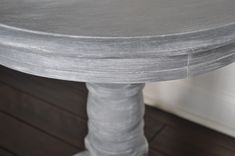 One of my favorite client pieces - painted, whitewashed + dry brushed pedestal side table Painted Pedestal Tables, Pedestal Side Table, Upcycled Furniture, Diy Furniture, Chalk Paint Furniture, Whitewashing Furniture, Refinished Table, White Washed Furniture, Pallet Barn