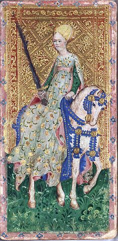 Horsewoman of Spades from the Visconti tarot deck