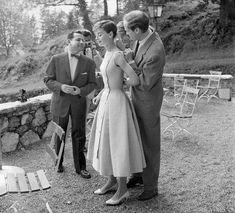"""Audrey Hepburn and Mel Ferrer in June 1955. Audrey Hepburn and Mel Ferrer outside of """"Villa Bethania,"""" their villa in Bürgenstock in June 1955."""