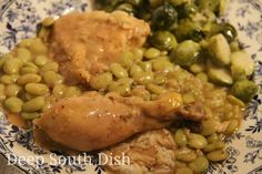 Chicken and Butter Beans - smothered chicken cooked in a roux with baby lima beans.