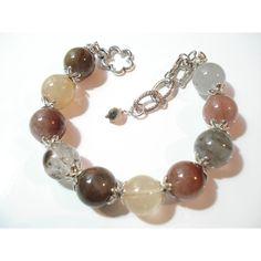 Rutilated Quartz Stones Bracelet Modern Beaded Earth Tone Bracelet... (€22) ❤ liked on Polyvore featuring jewelry, bracelets, beads jewellery, beaded bangles, beading jewelry, ball jewelry and stone jewellery
