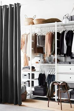 Begehbarer Kleiderschrank mit Vorhang You are in the right place about beach Bed Room Here we offer you the most beautiful pictures about the Bed Room Closet Curtains, Ikea Closet, Closet Bedroom, Closet Space, Bedroom Storage, Bedroom Organization, Organization Hacks, Diy Bedroom, Diy Storage