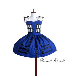 TARDIS Box Office Tea Dress DR Hoo Custom In Your Size PriscillaDawn Fall 2012 Collection.