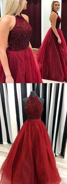 Open Back Burgundy Beaded Halter Ball Gown Prom Dresses Formal Party Dress LD1057 #laurashop #promdress #promdresses #burgundypromdress