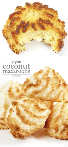 Sweet and moist - chewy on the inside, and crispy on the outside Aquafaba Recipes, Coconut Recipes, Vegan Dessert Recipes, Dairy Free Recipes, Vegan Recipes Easy, Sweet Recipes, Delicious Desserts, Gluten Free, Vegan Coconut Macaroons Recipe