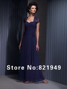 2014 Top sale navy blue sweetheart cap sleeve beaded lace rosettes ankle length mother of the bride dresses $113.00