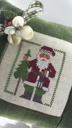 Santa Pillow Vintage Primitive Green Velvet by VintageFrenchRoses