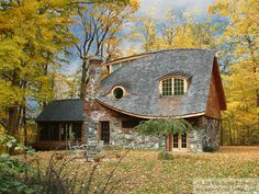 Storybook Cottage, Rhinebeck, New York - Whimsical stonework and the most gorgeous roof. We love curves at Mud and Wood