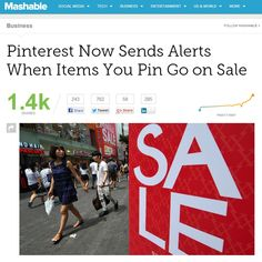 Pinterest Now Sends Alerts When Items You Pin Go on Sale.