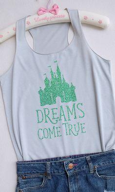 Mint Glitter Dreams come true castle Disney shirtDisney tank