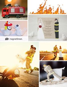 Firefighter wedding inspiration - cake toppers, invitations, and other decor to fire up this theme