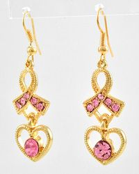 BBW425420-150ES Gold Tone Pink Rhinestone  Lead Compliant  Pink Ribbon With Heart Dangle  Fish Hook Earring Set  8.99