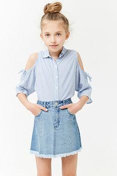Product Name:Girls Frayed Denim Skirt (Kids) Category:girls_main - May 18 2019 at Girls Summer Outfits, Cute Girl Outfits, Cute Outfits For Kids, Trendy Outfits, Fashion Kids, Girls Fashion Clothes, Tween Clothing, Fashion 2016, Clothing Sites