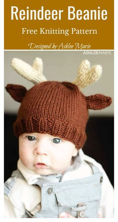Reindeer Beanie Hat Free Knitting Pattern This cleverly designed hat has cables and ears with antlers for the crowning touch. The Reindeer Hat Free Knitting Pattern is the perfect start for those learning beginner knitting techniques. Baby Hat Knitting Pattern, Baby Hats Knitting, Knitting For Kids, Loom Knitting, Free Knitting, Knitted Hats, Baby Knitting Patterns Free Newborn, Newborn Knit Hat, Beginner Knitting