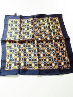 317249884da5f Turnbull & Asser silk pocket square navy orange blue - Tweedmans Vintage