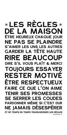 Affiche adhésive - Sticker géant - Poster autocollant Home Rules - manifeste de la Famille