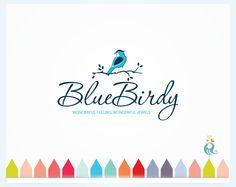 Blue Bird Logo Design, Bird on Leafy Branch in Nature Design, Simple Clean Business