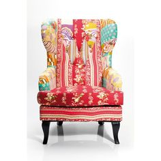 Wing Chair Patchwork Red Size: x x m Weight: 16 kg Номер пункта: 76121 Upholstered Swivel Chairs, Chair Upholstery, Wingback Chairs, Kare Design, Red Armchair, Pouf Design, Patchwork Chair, Restaurant Chairs For Sale, Fabric Armchairs