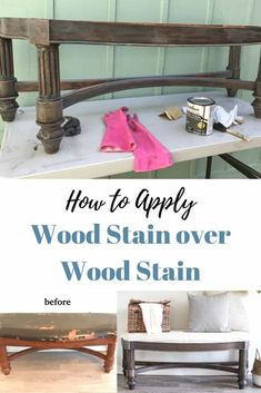 How to apply wood stain over wood stain with a Bench Makeover How to Create the Weathered Barn Wood look with New Wood Barn Wood Projects, Furniture Projects, Furniture Makeover, Furniture Design, Bench Furniture, Wood Furniture Colors, Staining Wood Furniture, Diy Projects, Chair Makeover