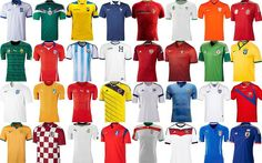 Each teams kits for the #worldcup #2014