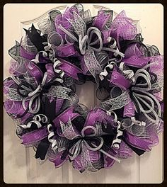 Lavender, Silver and Black Everyday Deco Mesh Wrearh/Lavender Wreath/Black Wreath/Silver Wreath/Lavender, Silver and Black Wreath Black Wreath, Purple Wreath, Lavender Wreath, Valentine Day Wreaths, Holiday Wreaths, Halloween Wreaths, Homemade Christmas Wreaths, Homemade Wreaths, Winter Wreaths