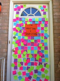 This is how my friend ask her date to the Halloween dance, I gotta remember this one it's too cute! And when he answered back he answered all the questions on the sticky notes!!
