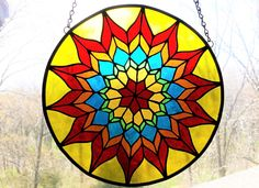 Items similar to Stained Glass Suncatcher Explosion Piece on Etsy Modern Stained Glass, Stained Glass Door, Stained Glass Flowers, Stained Glass Suncatchers, Stained Glass Designs, Stained Glass Panels, Stained Glass Projects, Stained Glass Patterns, Leaded Glass