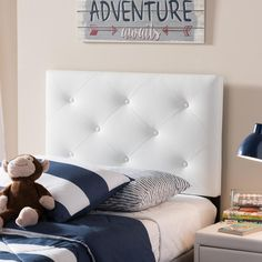 Baltimore Contemporary Twin Size White Faux Leather Upholstered Headboard