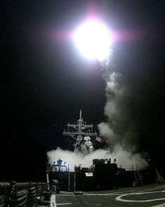 A Tomahawk cruise missile launches from the aft missile deck of the USS Gonzalez (DDG 66) headed for a target in the Federal Republic of Yugoslavia on March 31 1999. The Arleigh Burke Class destroyer is operating in the Adriatic Sea in support of NATO Operation Allied Force.