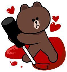 Cartoon Wallpaper Iphone, Bear Wallpaper, Cony Brown, Brown Bear, Cute Love Cartoons, Line Friends, Cute Comics, Line Sticker, Cute Bunny