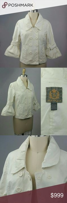 """BB Dakota Jacket Adorable cream corduroy jacket from BB Dakota in excellent pre-owned condition.  Large acrylic snap buttons. Belted bell structured sleeves. Structured pleated color. Such a unique jacket! Size Small. Bust: 17"""" / length: 19"""". 100% Cotton.  Machine washable.   Thank you for visiting! Happy Poshing!  Suggested User  5-Star Seller  No PP, Merc, Trades or Holds please. BB Dakota Jackets & Coats"""