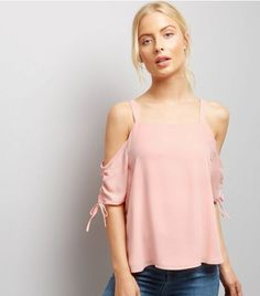 Pink Ruche Sleeve Cold Shoulder Top   New Look