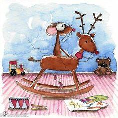 Original Watercolor Painting Mouse Christmas Rocking Reindeer Teddy Bear Train | eBay