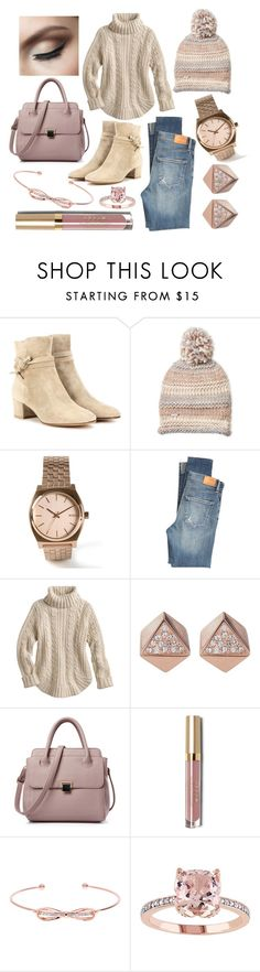 """""""Pink and Cream Dream"""" by elisenotelsie ❤ liked on Polyvore featuring Gianvito Rossi, Steve Madden, Nixon, Citizens of Humanity, FOSSIL, Stila and Ted Baker"""