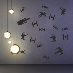 STAR WARS space ships set of 18 silhouettes wall art decal