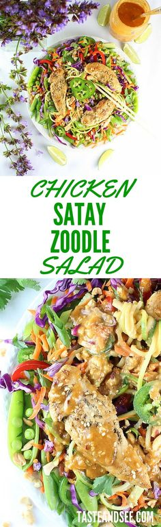 """Chicken Satay Zoodle Salad – Lemon-marinated chicken on spiralized zucchini """"zoodles"""" w/ sweet-spicy peanut satay dressing. Full of hearty crunchy texture, bright & creamy flavors, and a week's worth of vitamins! #salad #zoodles http://tasteandsee.com"""