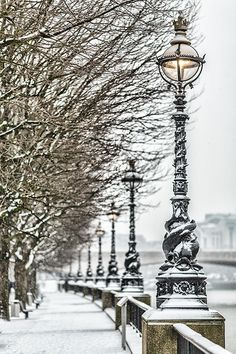 Snowy walkway on the Southbank, London