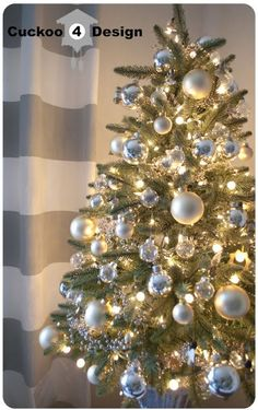 Grey, Silver and White Christmas Tree (more Christmas decor ideas)