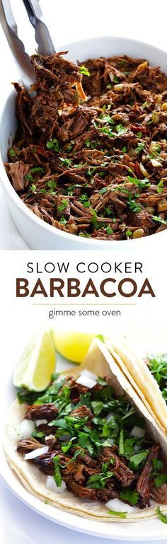 Learn how to make delicious barbacoa beef in the slow cooker!  Perfect for tacos, burritos, salads, and more! | http://gimmesomeoven.com