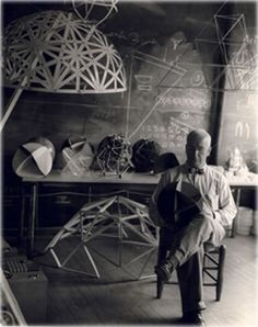 Buckminster Fuller developed and refined the geodesic dome during the summers of 1948 and when he worked at Black Mountain College in NC. Photo by Hazel Larsen Archer Richard Buckminster Fuller, Black Mountain College, Geodesic Dome, Portraits, Sacred Geometry, Art Studios, Architecture, Artist At Work, History