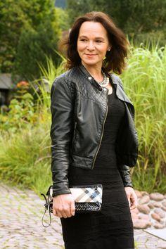 Black dress and moto jacket | Lady of Style