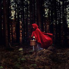 Red ridinghood - red cloak, denim skirt, black shirt, basket