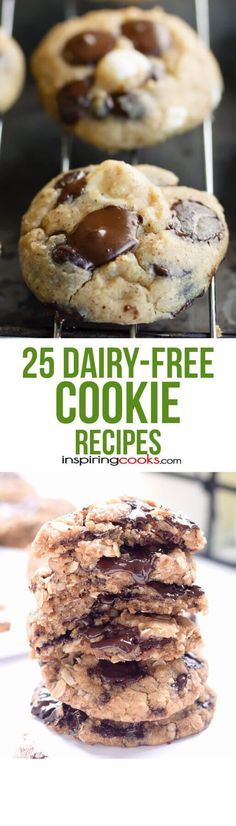 25 of the Best Ever Dairy-Free Cookie Recipes These are the best dairy-free cookie recipes you'll find with no butter or milk chocolate in them. It can be a real challenge to find dairy-free desserts. Lactose Free Recipes, Allergy Free Recipes, Baby Food Recipes, Dessert Recipes, Cookie Recipes, Dessert Ideas, Vegetarian Recipes, Dinner Recipes, Paleo Dessert