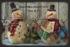 Primitive E-PATTERN Snowman Doll Mittens and Christmas Tree SnoBiz by SweetMeadowsFarm on Etsy https://www.etsy.com/listing/113789529/primitive-e-pattern-snowman-doll-mittens