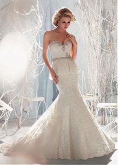 Lace & Satin Mermaid Sweetheart Neckline Raised Waistline Beaded Wedding Dress