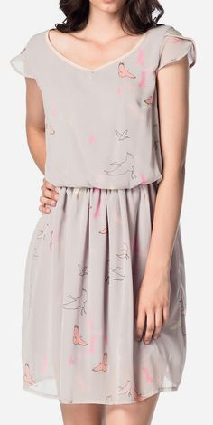 Gray Graphic V-Neck Dress